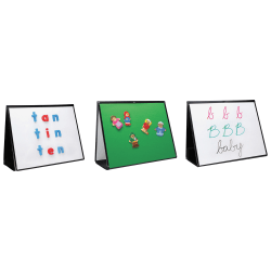 """Learning Resources 3 in 1 Portable Non-Magnetic Dry-Erase Whiteboard/Bulletin Board Easel, 15"""" x 20"""", Metal Frame With Black Finish"""