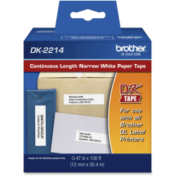 """Brother DK2214 - Continuous Length Paper Tape - 0.47"""" Width x 100 ft Length - Rectangle - Direct Thermal - White - 1 / Roll"""