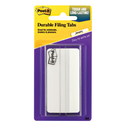 "Post-it® Notes Durable Filing Tabs, 3"", White, Pack Of 50 Tabs"