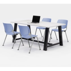 """KFI Studios Midtown Table With 4 Stacking Chairs, 30""""H x 36""""W x 72""""D, Designer White/Peri Blue"""