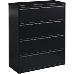 "Lorell® Fortress 42""W Lateral 4-Drawer File Cabinet, Metal, Black"