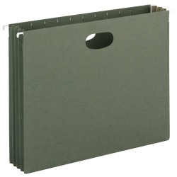 "Smead® Hanging Expanding File Pockets, 3 1/2"" Expansion, Letter Size, Standard Green, Box Of 10"