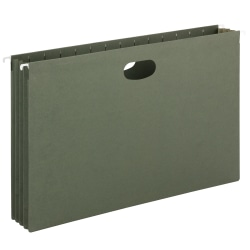 "Smead® Hanging Expanding File Pockets, 3 1/2"" Expansion, Legal Size, Standard Green, Box Of 10"