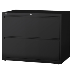 "Lorell® Fortress 42""W Lateral 2-Drawer File Cabinet, Metal, Black"