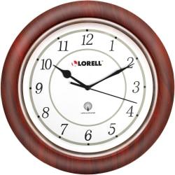 "Lorell® 13-1/4"" Round Atomic Wood Wall Clock, Mahogany"