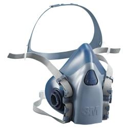 3M 7500 Series Half Fpiece Respirators - Reusable, Comfortable, Durable, Exhalation Valve - Large Size - Heat, Moisture, Debris, Gases, Vapor, Particulate Protection - Silicone - Aqua - 1 Each