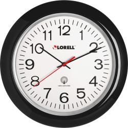 "Lorell® 13 1/4"" Round Atomic Wood Wall Clock, Black"