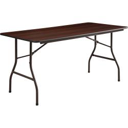 Lorell® Laminate Economy Folding Table, 5'W, Mahogany