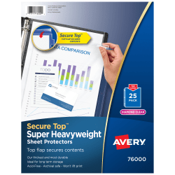 Avery® Secure-Top Sheet Protectors, Super Heavyweight, Diamond Clear, Pack Of 25