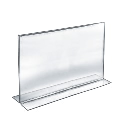 """Azar Displays Double-Foot Acrylic Sign Holders, 11"""" x 17"""", Clear, Pack Of 10"""