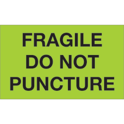 """Tape Logic® Preprinted Special Handling Labels, DL1197, Fragile Do Not Puncture, Rectangle, 3"""" x 5"""", Fluorescent Green, Roll Of 500"""