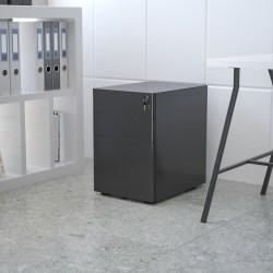 "Flash Furniture Modern 21""D Vertical 3-Drawer Mobile Locking Filing Cabinet, Metal, Black"