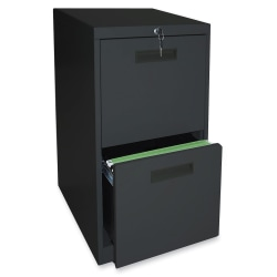 "Lorell® 19""D Vertical 2-Drawer Mobile Pedestal File Cabinet, Metal, Black"