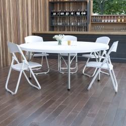 "Flash Furniture Round Bi-Fold Plastic Banquet And Event Folding Table, 29""H x 71""W x 71""D, Granite White"