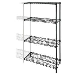 Lorell® 4-Tier Wire Rack With Shelves, Add-On Unit, Black