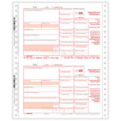 """ComplyRight™ 1099-DIV Tax Forms, 4-Part, Copy A, B, C, 1-Wide, Continuous, 9"""" x 11"""", Pack Of 100 Forms"""