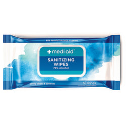 Mediaid® 75% Alcohol Sanitizing Wipes, Pack Of 50