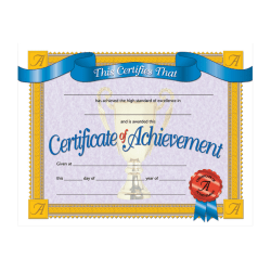 """Hayes Publishing Certificates Of Achievement, 8 1/2"""" x 11"""", Multicolor, Pack Of 30"""
