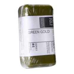 R & F Handmade Paints Encaustic Paint Cakes, 40 mL, Green Gold, Pack Of 2