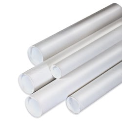 "Office Depot® Brand White Mailing Tubes With Plastic Endcaps, 2 1/2"" x 26"", 80% Recycled, Pack Of 34"