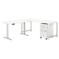 "Bush Business Furniture 400 Series 72""W L-Shaped Adjustable Desk With Storage, White, Premium Installation"