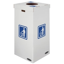 Bankers Box® Waste And Recycling Bins, Extra Large Size, 60% Recycled, White/Blue, Pack Of 10