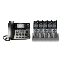 RCA By Telefield Unison DECT 6.0 5-Cordless-Handset Bundle With Digital Answering System, RCA-U1B0D5HS