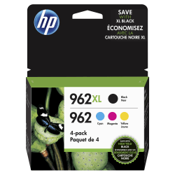 HP 962XL High Yield Black and HP 962 Cyan, Magenta, Yellow Original Ink Cartridges Pack of 4 (3JB34AN)