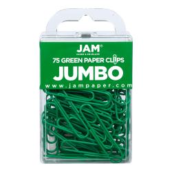 "JAM Paper® Paper Clips, Jumbo, 2"", 25-Sheet Capacity, Green, Pack Of 75"