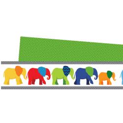 Carson-Dellosa 2-Sided Straight Borders, Parade Of Elephants, 3/16'' x 38 3/16'', Multicolor, Grades Pre-K - 8, Pack Of 12