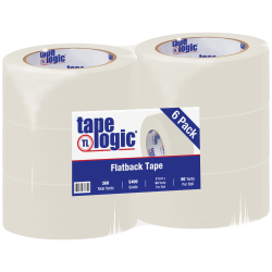 "Tape Logic® Flatback Tape, 3"" Core, 2"" x 60 Yd., Natural White, Case Of 6"