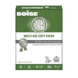 "Boise® X-9® Multi-Use Copy Paper, Letter Size (8 1/2"" x 11""), 92 (U.S.) Brightness, 20 Lb, Ream Of 500 Sheets"