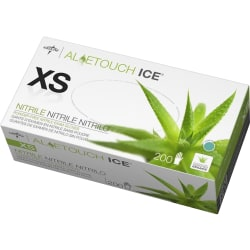 Medline AloeTouch Ice Nitrile Gloves, X-Small, Clear, Box Of 200