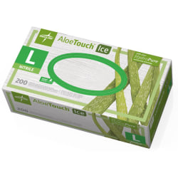 Medline AloeTouch Ice Nitrile Gloves, Large, Clear, Box Of 200