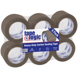 "Tape Logic® Acrylic Tape, 3"" Core, 3"" x 110 Yd., Tan, Case Of 6"