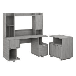 "kathy ireland® Home by Bush Furniture Madison Avenue 60""W Computer Desk With Hutch And Lateral File Cabinet, Modern Gray, Standard Delivery"