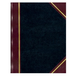"""National® Brand 50% Recycled Black Texhide Record Book With Margin, 8 3/8"""" x 10 3/8"""", 300 Pages"""