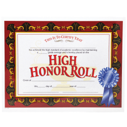 "Hayes High Honor Roll Certificates, 8 1/2"" x 11"", Beige/Red, 30 Certificates Per Pack, Bundle Of 6 Packs"