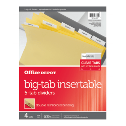 Office Depot® Brand Insertable Dividers With Big Tabs, Buff, Clear Tabs, 5-Tab, Pack Of 4 Sets