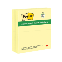 """Post-it® Greener Notes, 3"""" x 5"""", Canary Yellow, Pack Of 12 Pads"""