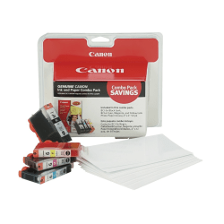 Canon BCI-3e/BCI-6 ChromaLife 100 Black/Color Ink Cartridges 50-Sheet Paper Value Pack (4479A292), Pack Of 4 Cartridges