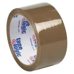 """Tape Logic® #50 Natural Rubber Tape, 3"""" Core, 2"""" x 55 Yd., Tan, Case Of 6"""