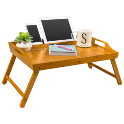 """LapGear Lap Desk With Legs, 13.9""""H x 21.8""""W x 2.6""""D, Natural Bamboo"""
