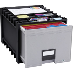 Storex Heavy-Duty Archive Drawer, 50% Recycled, Black/Gray