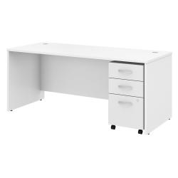"Bush Business Furniture Studio C Office Desk with Mobile File Cabinet, 72""W x 30""D, White, Standard Delivery"