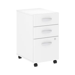 "Bush Business Furniture Studio C 20-1/4""D Vertical 3-Drawer Mobile File Cabinet, White, Standard Delivery"