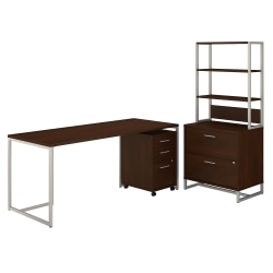 """kathy ireland® Office by Bush Business Furniture Method Table Desk With File Cabinets And Hutch, 72""""W, Century Walnut, Standard Delivery"""