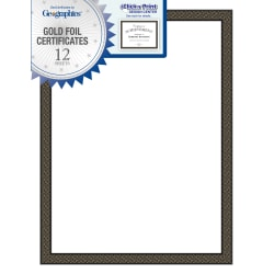 """Geographics® 30% Recycled Blank Parchment Certificates, 8 1/2"""" x 11"""", Black Diamonds, Pack Of 12"""