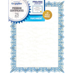 "Geographics Parchment Certificates, 8-1/2"" x 11"", Classic Blue, Pack Of 25"