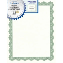 """Geographics® 30% Recycled Blank Parchment Certificates, 8 1/2"""" x 11"""", Optima Green, Pack Of 25"""